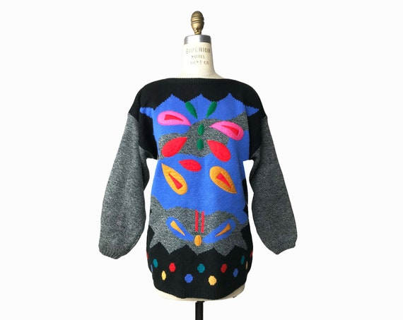 Vintage 80s Color Splash Tunic Sweater / Embroidered Felt Appliqué Sweater with Rainbow Polka Dots / Wearable Art - women's large