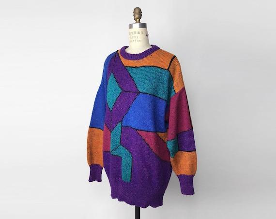 90s jewel tone tunic sweater | geometric sweater dress