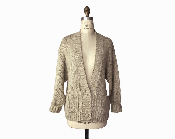 Vintage 90s Almond Boucle Cardigan / 90s Normcore Minimalist / Beige Tan Cozy Sweater - women's large