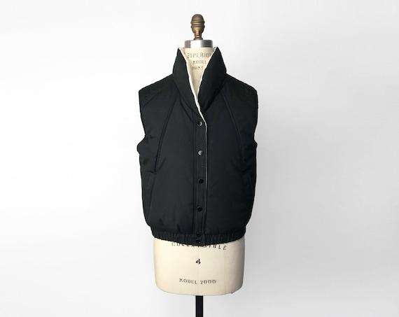 70s black puffer vest | quilted ski vest