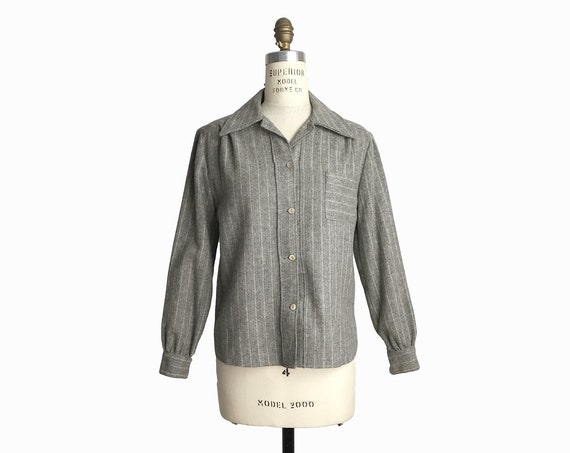 gray pinstriped wool shirt | 1960s wool top