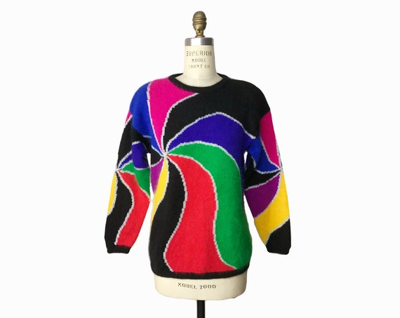 rainbow mohair sweater | colorful swirl sweater | metallic silver swirl - women's petite