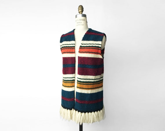 70s stripe tunic vest | woven sweater vest | boho fringed vest - women's small
