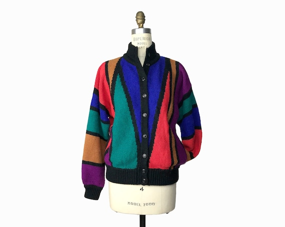 Vintage 90s Rainbow Striped Sweater-Coat / Color Blocked Bomber Cardigan / Colorful Sweater - women's small