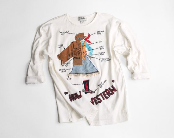 how to be western top | cowgirl diagram tee | ivory tunic top