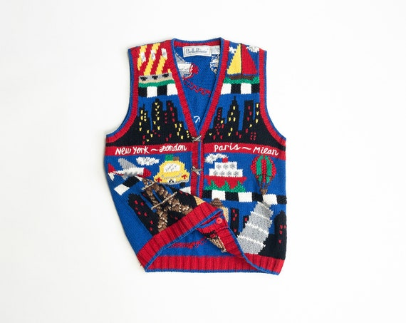 world traveler's sweater vest | New York London Paris Milan | geography teacher sweater | skyline | airplane sweater