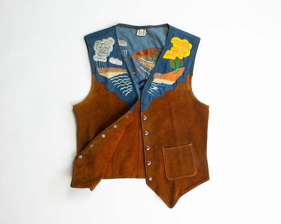 vintage desert sunset vest | embroidered denim & leather vest | boho southwestern