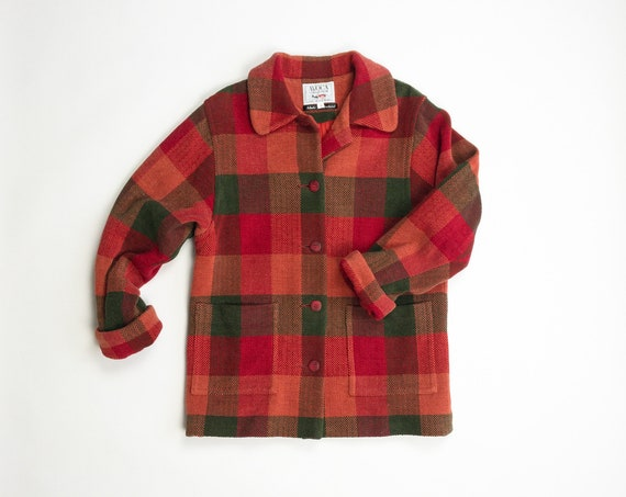 red plaid chenille coat | Irish cotton chenille