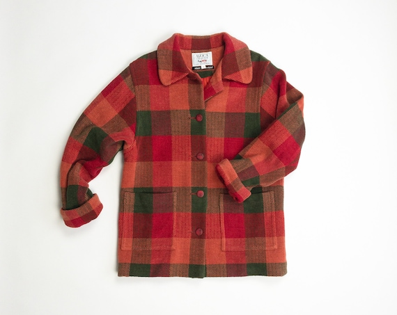 red plaid chenille coat | Irish cotton coat - women's small