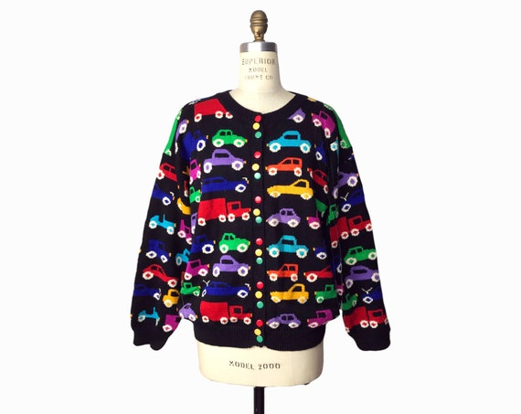 rainbow car sweater   cars & trucks cardigan   teacher sweater - women's medium