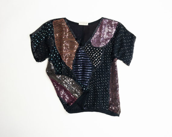 90s silk sequin party blouse | sparkle top | beaded silk tee - women's xs