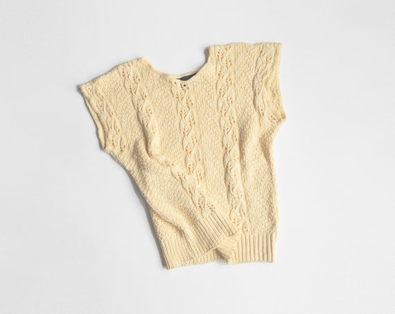 pale yellow cable-knit top | cotton knit | cap sleeve pullover
