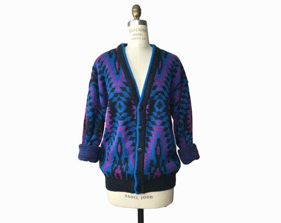 80s party sweater | men's geometric cardigan | purple aztec sweater - men's medium