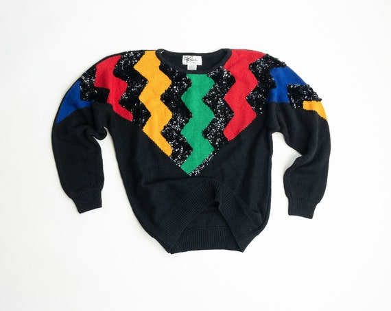 black rainbow sequined sweater | zig zag striped sweater
