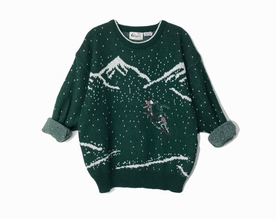 hunter green mountaineering sweater | embroidered mountain climbers | boyfriend sweater | crewneck pullover - men's medium