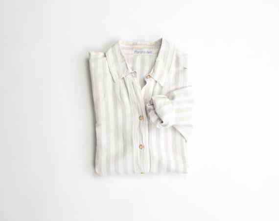 natural striped linen shirt | long sleeve top | striped linen top