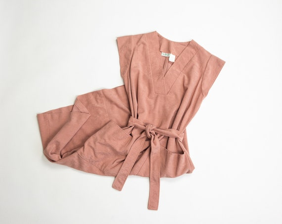 dusty rose day dress | 70s belted dress | faux suede dress - women's small