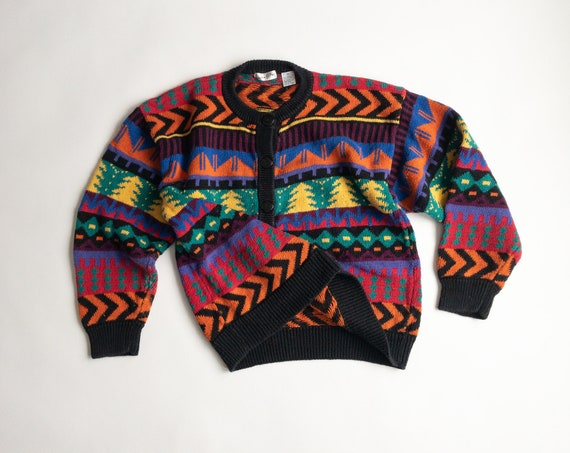 geometric pine tree sweater | colorful 90s cardigan | striped sweater - women's medium