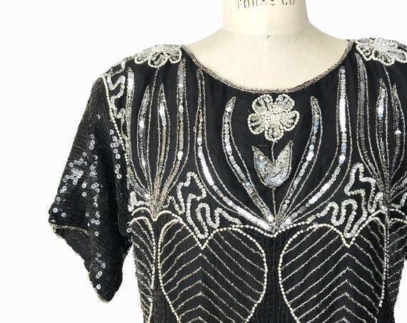 Art Deco silk sequin top | black beaded top