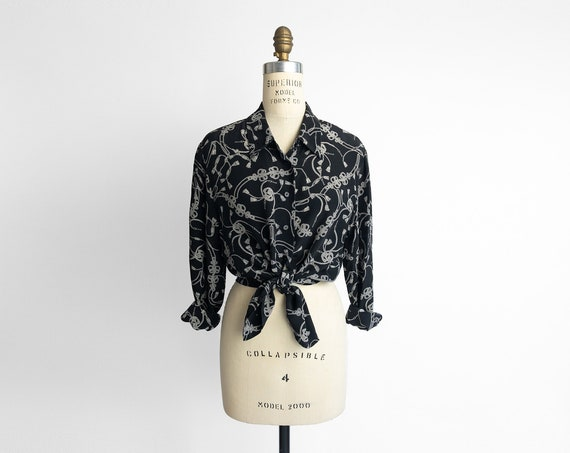 black print silk shirt | 90s silk blouse