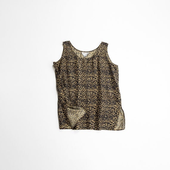 leopard print silk shell | sleeveless tank
