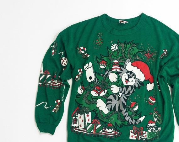 vintage ugly Christmas sweater | 90s Santa Cat sweatshirt