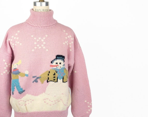90s Snowman sweater | pink wool ugly Christmas sweater