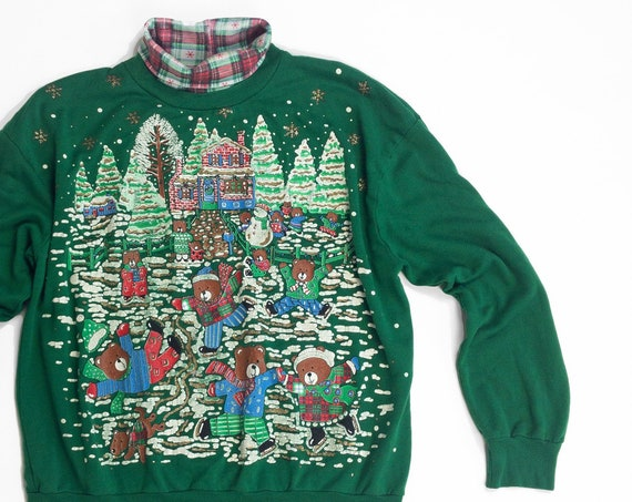 green ugly Christmas sweater | teddy bears ice skating party