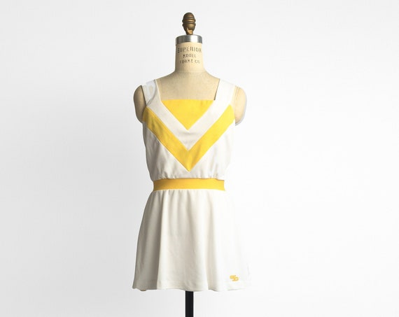 1970s tennis dress | canary yellow and white tennis dress