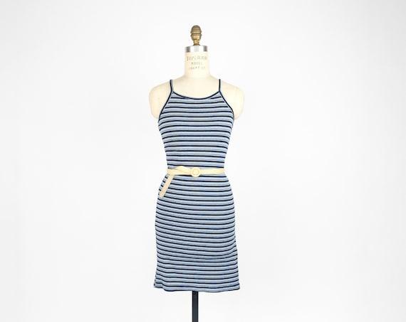 90s striped tank dress | ribbed dress | indigo blue