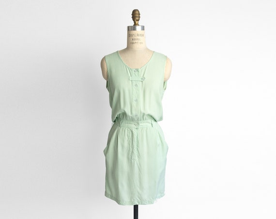 mint silk dress | button front dress