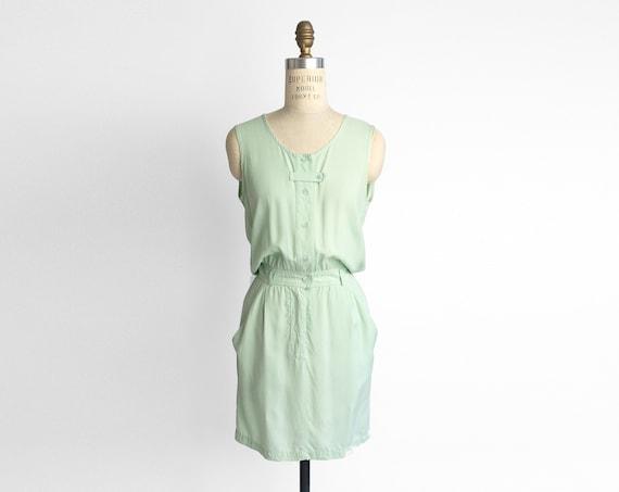 mint silk dress | button front dress