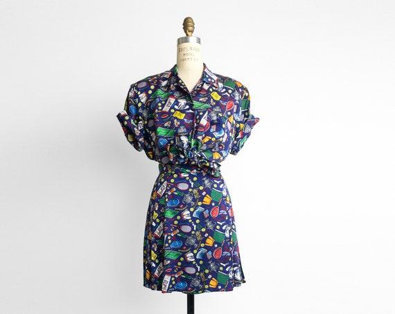Nicole Miller 1992 US Open Tennis outfit   silk shirt and skirt set
