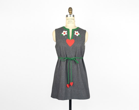 wool appliqué dress | hearts and flowers