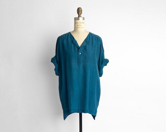 teal silk tunic top | short sleeve shirt