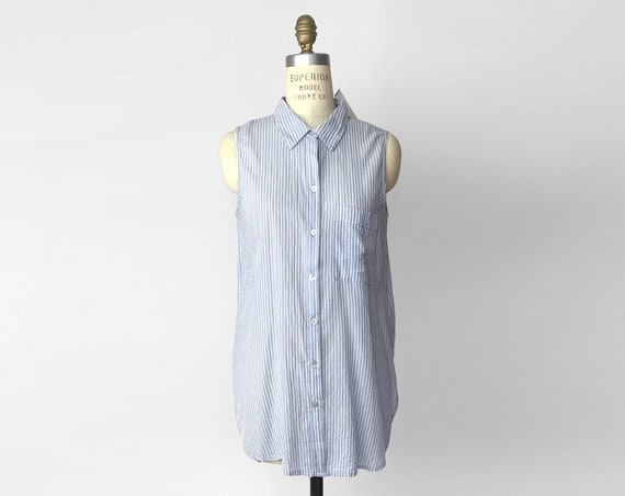 BEACH LUNCH LOUNGE Blue Chambray Striped Tunic Top | Sleeveless