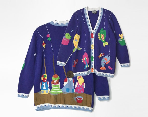gone fishing sweater | 90s novelty cardigan