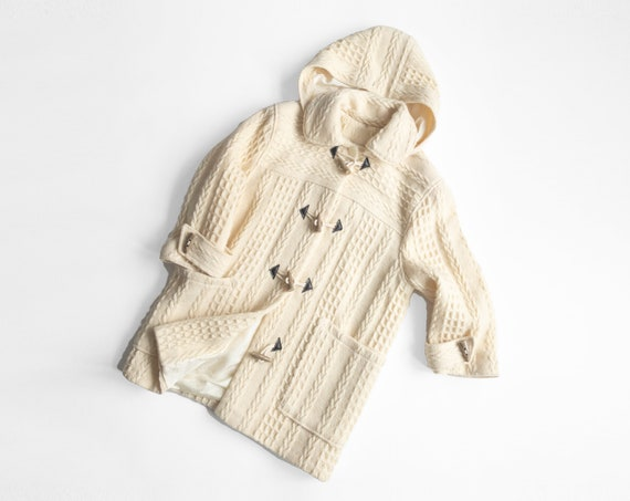 Irish wool toggle coat | ivory cable knit coat | hooded