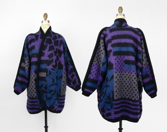 vintage 90s geometric sweater coat | wool mohair cocoon coat