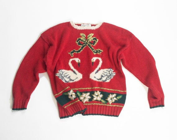 90s tacky Christmas sweater | swans-a-swimming