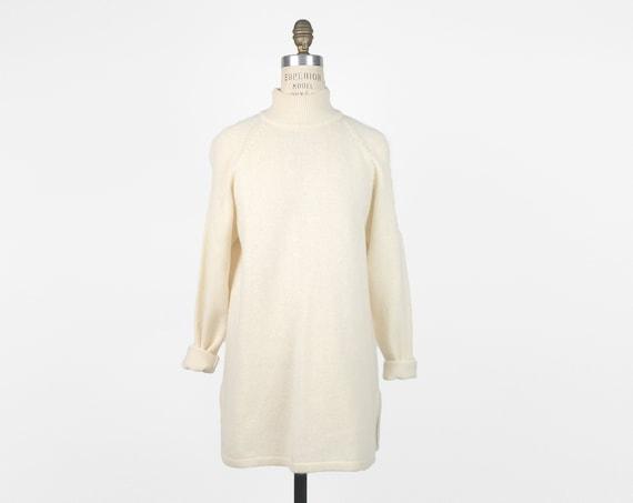 ivory Angora-blend tunic sweater | mock neck | lambswool