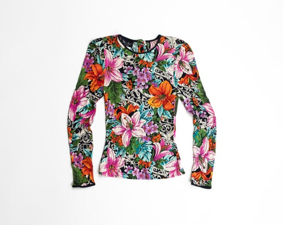 beaded silk lily top | Diane Freis silk shirt