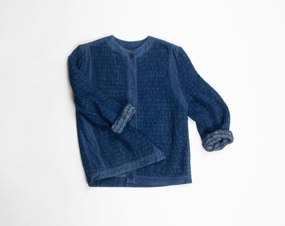 textured denim jacket | sunwashed indigo blue