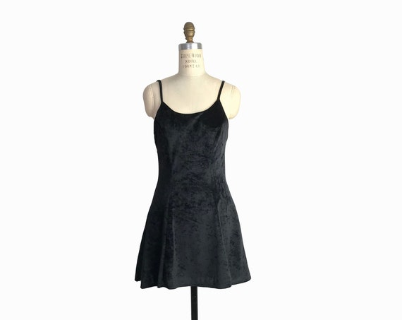 crushed velvet skater dress | black velvet dress