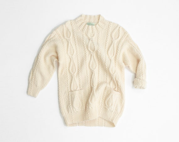 women's Irish wool fisherman sweater | cream cable knit sweater