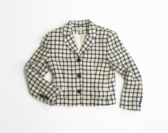 ivory plaid wool jacket | windowpane check