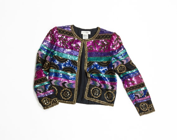 sequined evening jacket | beaded silk jacket