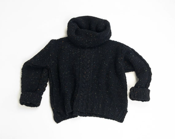 Irish wool fisherman sweater in flecked charcoal | black cable knit sweater with funnel neck