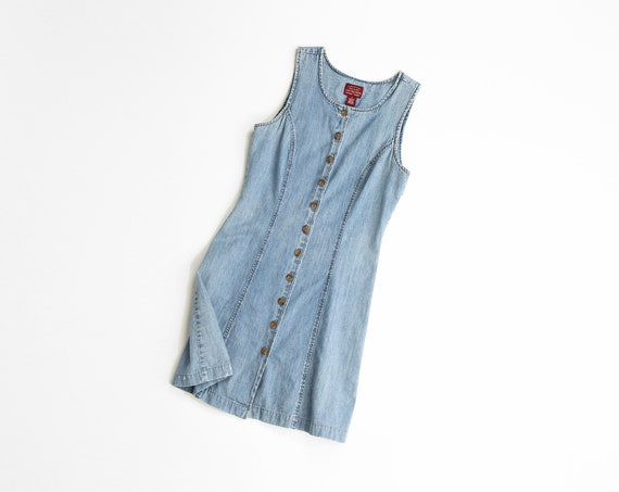 button front denim dress | light wash
