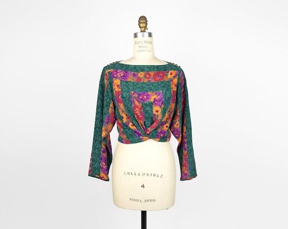 jade floral silk blouse | boho silk tunic